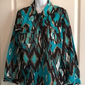 Turquoise/Black/Tan Western Shirt, 2X